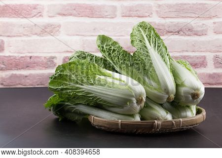 Napa Cabbage, Winter Grown Cabbage Isolated On Black Background.