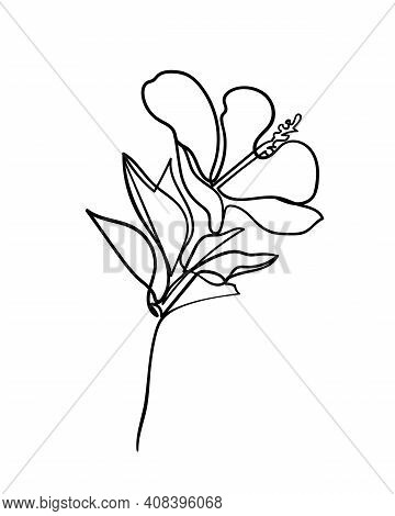 Hibiscus Flower Icon. Continuous One Line Drawing. - Vector Illustration