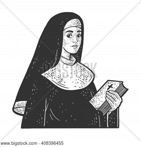 Christian Sister Nun Monk Sketch Engraving Vector Illustration. T-shirt Apparel Print Design. Scratc