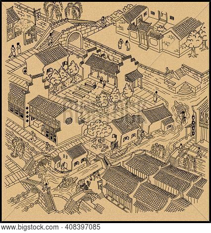Illustration Of Ancient Water Town Of China. Black Outline With Grain Texture Background.