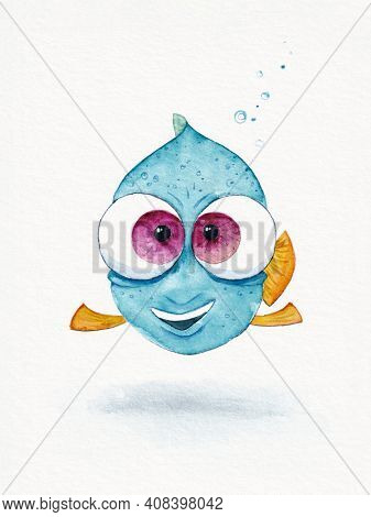 A watercolor illustration of a blue fish with big eyes