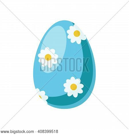 Blue Easter Egg Isolated On White Background. Egg For The Holiday With Painted Ornaments And Pattern