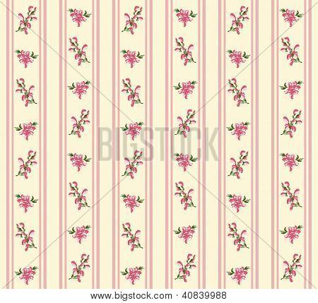 Striped Retro Floral Seamless