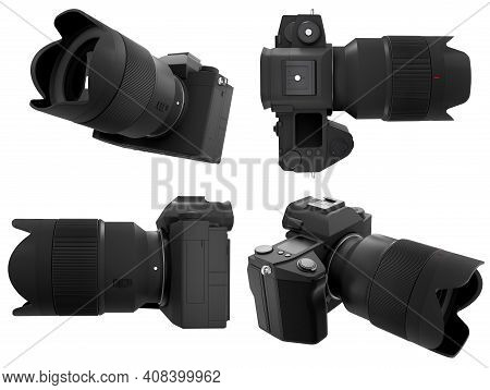 Concept Of Nonexistent Dslr Camera With Macro Lens Isolated On A White Background With Clipping Path