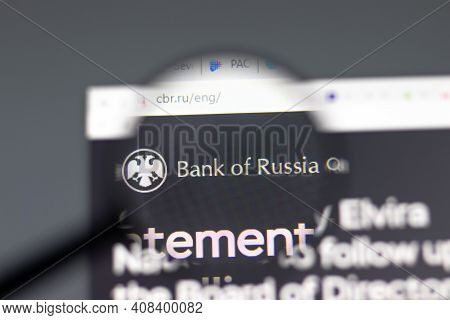 New York, Usa - 15 February 2021: Bank Of Russia Website In Browser With Company Logo, Illustrative