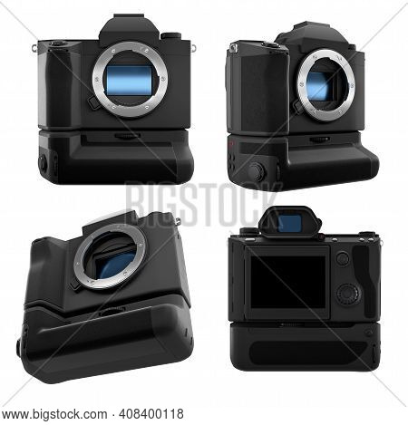 Concept Of Nonexistent Dslr Camera Isolated On A White Background With Clipping Path. 3d Rendering A