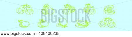 Set Of Castanets Cartoon Icon Design Template With Various Models. Modern Vector Illustration Isolat