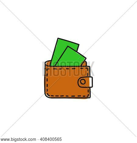 Purse Vector Icon In Cartoon Style. Hand Drawn Brown Wallet With Cash On White Background.