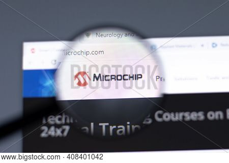 New York, Usa - 15 February 2021: Microchip Website In Browser With Company Logo, Illustrative Edito
