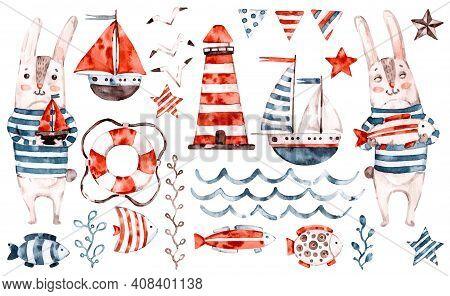 Nautical Vector Watercolor Baby Rabbit Sailor, Animal Cartoon Nursery Seaman Set. Cute Childish Char
