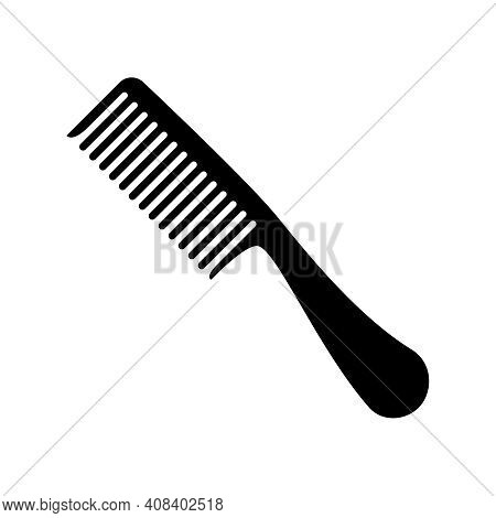 Hair Combs Vector Icon. Hairbrush Silhouette Isolated On White Background.