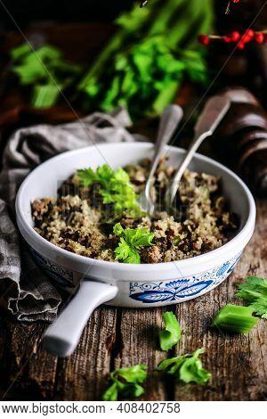 Cajun Dirty Rice In A Frying Pan..style Rustic .selective Focus