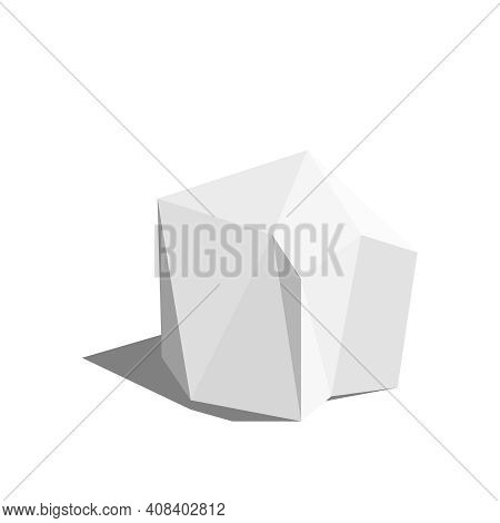 Abstract Polygonal Geometric Shape. Low Poly Gray Stone. Vector Illustration