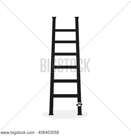 Vector Icon Of Broken Ladder With Steps. Isolated Illustration Of Stairs On White Background