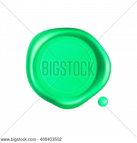 Green Wax Seal. Wax Seal Stamp Isolated On White Background. Realistic Guaranteed Green Stamp. Reali