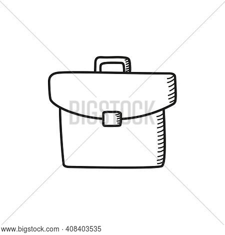 Briefcase Vector Icon In Sketch Style On White Background. Business Concept, Work.