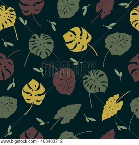 Vector Seamless Pattern Of Tropical Leaves, Plants, Flowers On Dark Green. Beautiful Print With Exot