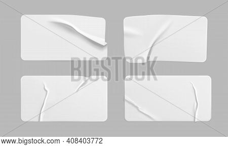White Glued Crumpled Rectangle Stickers Mock Up Set. Blank White Adhesive Paper Or Plastic Sticker L