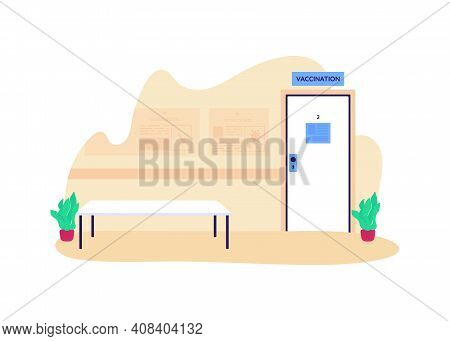 Hospital Waiting Room For Vaccination Flat Concept Vector Illustration. Health Care. Visit For Disea