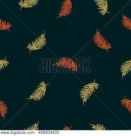 Vector Seamless Pattern Of Tropical Fern Leaves On Dark Green