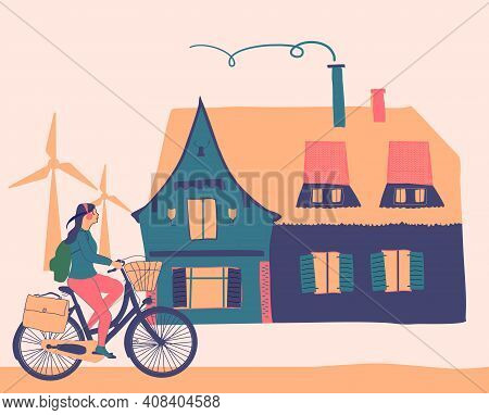 Girl Riding On Bicycle Near Old Cartoon German House. Hand Drawn Vector Illustration With Summer Vac