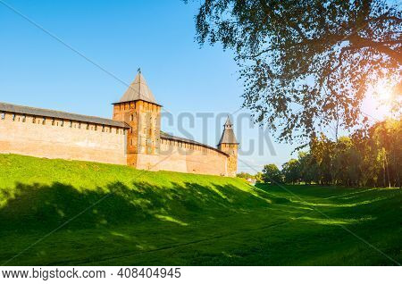 Veliky Novgorod, Russia - Kremlin Fortress In Sunny Day. Towers Of Veliky Novgorod Kremlin Fortress