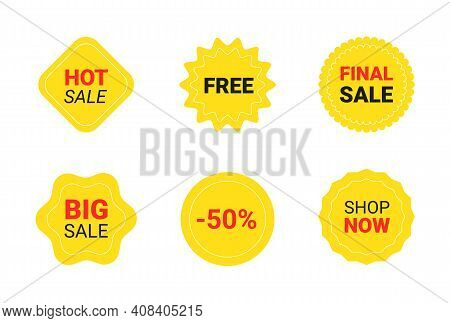 Starburst Sticker Set For Promo Sale. Vector Badge Shape With Text - Star And Roundburst Label, Pric