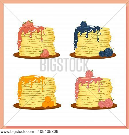 Pancakes Illustration On A White Background. Plate With Pancakes. Maslenitsa Is A Traditional Slavic