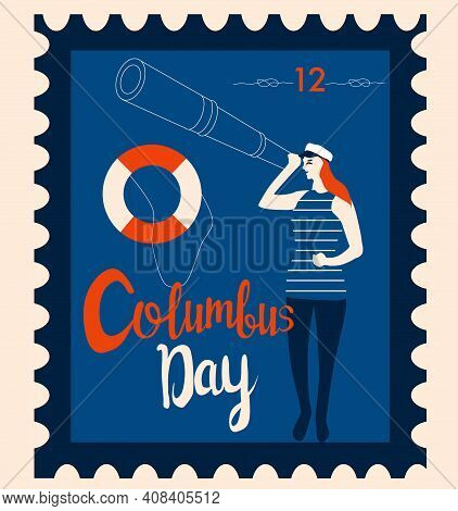 Columbus Day Retro Postmark.sailor Looks Into The Suspension Pipe Old Fashioned Stamp.sailing Yacht,