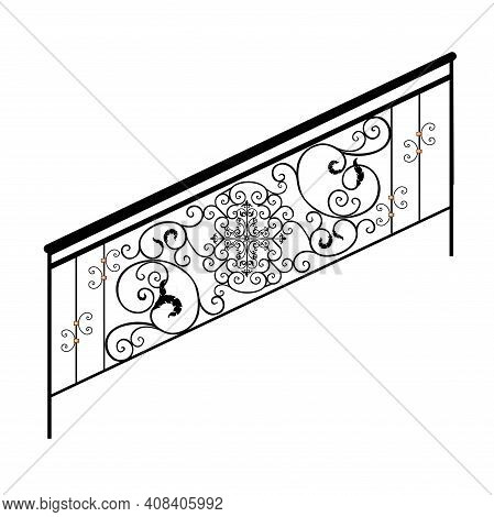 Sketch Metal Railings. Forged Element. Fence Or Fence. Artistic Forging