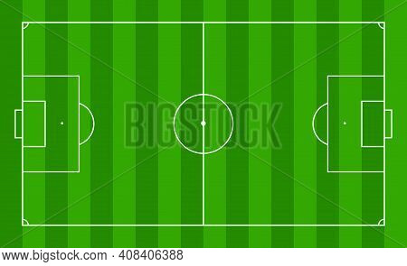 Soccer Field. Football Pitch. Stadium With Green Grass. Green Texture With Stripes And White Lines,