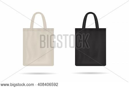 Canvas Bag. Mockup Of Fabric Tote. Cloth Totebag With Handle. Template Of Black And White Cotton Eco
