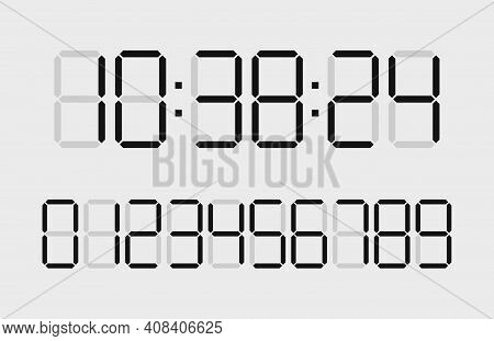 Digital Time Clock. Numbers For Timer, Calculator And Watch Display. Font Of Digit For Counter. Blac
