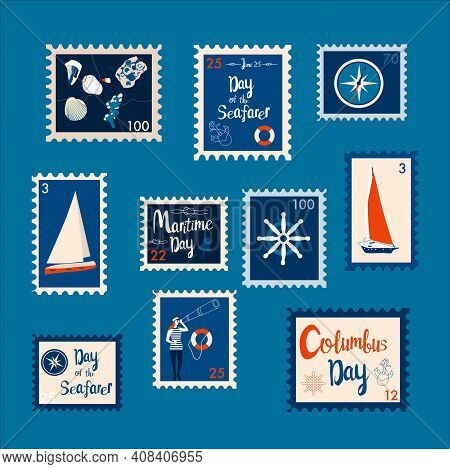 Set Of Marine Theme Stamps. Day Of The Seafarer, Columbus Day, Maritime Day Vector Illustration. Sai