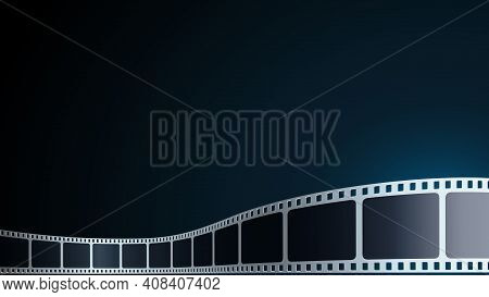Realistic Cinema Background. Film Strip In Perspective. 3d Isometric Film Strip. Vector Template Cin