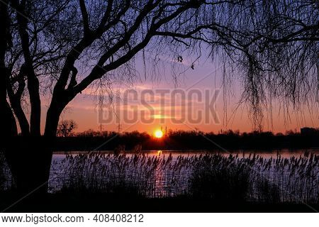 Beautiful Landscape With Silhouette Of Trees In Front Of A Lake. Reflection Of The Sun In The Water.