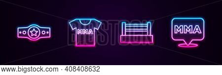 Set Line Boxing Belt, T-shirt With Fight Club Mma, Ring And Fight. Glowing Neon Icon. Vector