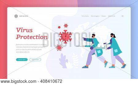 Virus Protection. Website Banner Landing Page Template. Vector Illustration Of Cartoon Male And Fema