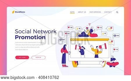 Social Network Promotion. Landing Page Template. Vector Illustration Of Men And Women Browsing Socia