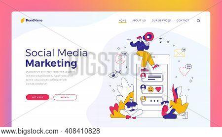 Social Media Marketing. Website Banner Template. Vector Illustration Of Woman With Loudspeaker Sitti