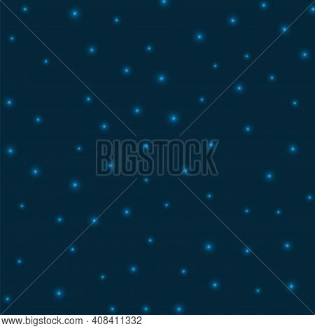 Starry Background. Stars Sparsely Scattered On Space Blue Background. Appealing Glowing Space Cover.