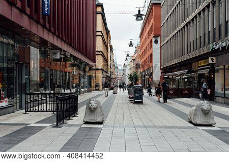 Stockholm, Sweden - August 10, 2019: Pedestrian Street In City Centre Of Stockholm.