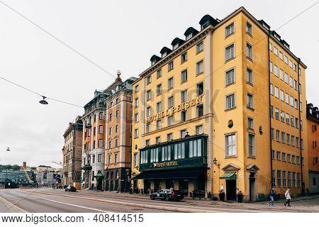Stockholm, Sweden - August 10, 2019: Reisen Hotel In Gamla Stan Quarter