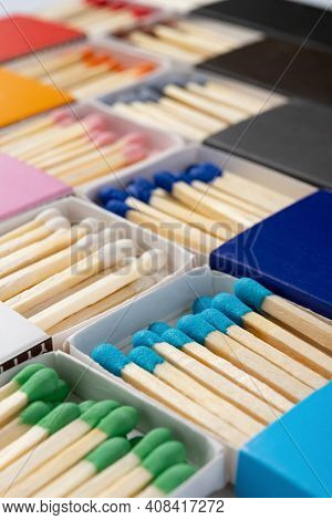 Angle View Multi Color Matchboxes Vertical Composition