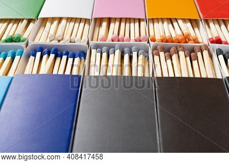 Angle View Multi Color Matchboxes Horizontal Composition
