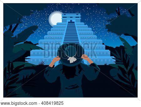 Woman Looks At The Maya Pyramid. Vector Color Hand Drawn Flat Illustration On Background Panorama Ni