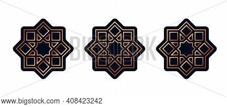 Set Of Stickers For Ramadan Isolated On White. Vector Illustration.