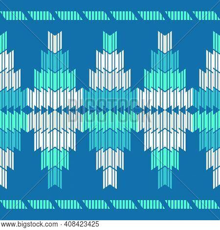 Stripes. Navajo Mosaic Rug With Traditional Folk Geometric Pattern.
