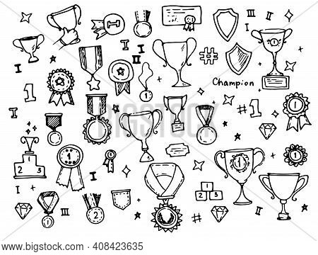 Set For Celebration Decoration Design. Vector Sketch Illustration. Isolated Vector. Hand Drawn Vecto
