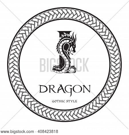 Dragon Silhouette Inside Capital Letter I. Elegant Gothic Dragon Logo With Tattoo Element. Heraldic
